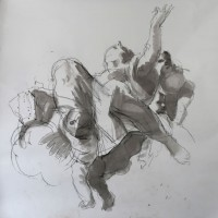 2. Female Saint Flying, after Tiepolo   compressed charcoal and wash 160x150cm
