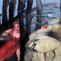 Caught in the Woods the Woods oil on board 160x200mm