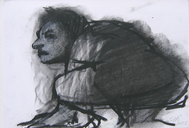 Lady in Waiting compressed charcoal  10x15cm